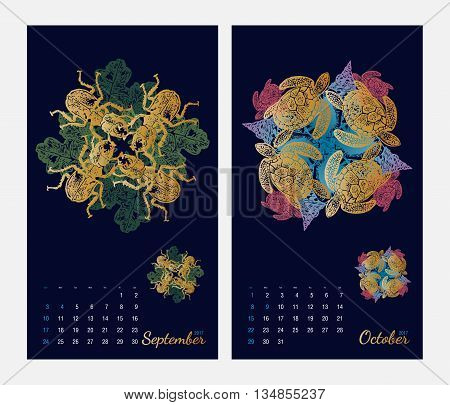 Animal printable calendar 2017 with flora and fauna fractals on dark blue background. Set 5 - September and October pages