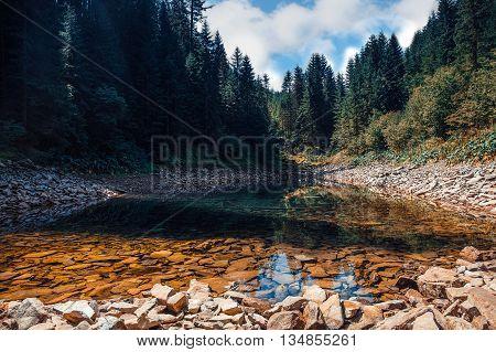 Mountain lake deep in the Carpathian Mountains