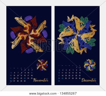 Animal printable calendar 2017 with flora and fauna fractals on dark blue background. Set 6 - November and December pages