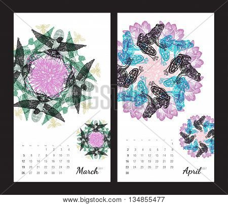 Animal printable calendar 2017 with flora and fauna fractals on white background. Set 2 - March and April pages