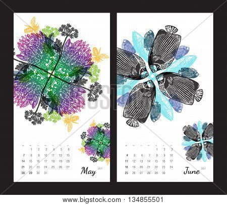 Animal printable calendar 2017 with flora and fauna fractals on white background. Set 3 - May and June pages