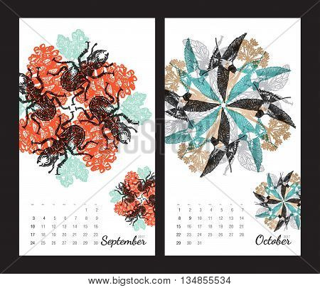 Animal printable calendar 2017 with flora and fauna fractals on white background. Set 5 - September and October pages