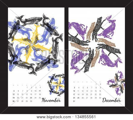 Animal printable calendar 2017 with flora and fauna fractals on white background. Set 6 - November and December pages