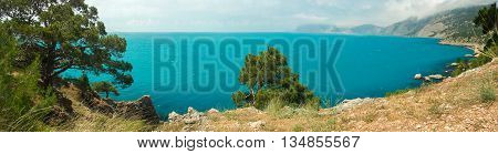 Panoramic views of the Black Sea harbor a place of sunken ships