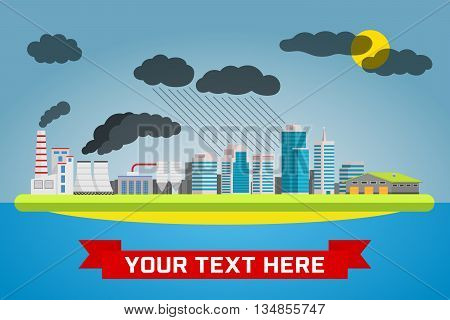 Urban pollution landscape. Ecology, environmental protection: production, factory, plant, pollution, smoke, building. Vector flat illustrations