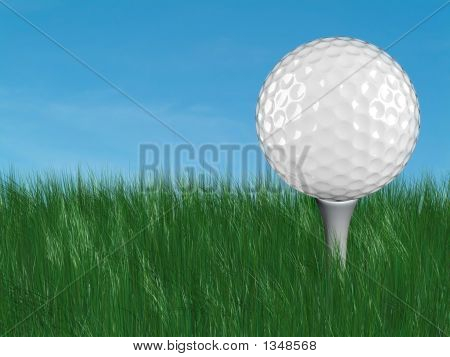 Golf Ball In Grass  Ground Level