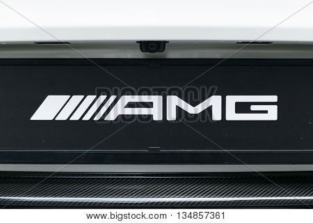 TURIN, ITALY - JUNE 13, 2015: Closeup of a AMG logo on a Mercedes car