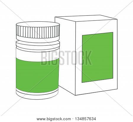 Medicine bottle on white background. White plastic bottle, cardboard packaging isolated. Medicine and vitamins, examples and templates