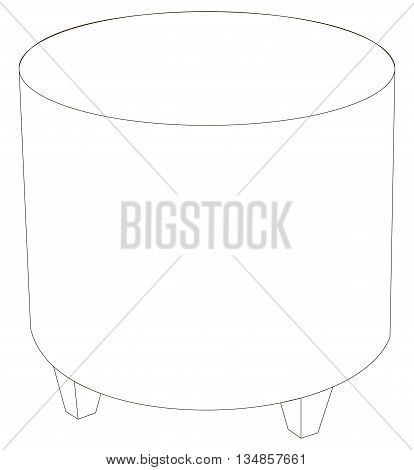 Vector illustration of leather and round pouf