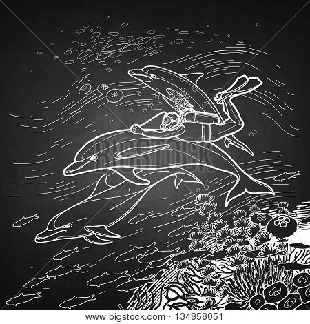 Graphic scuba diver riding the dolphin over the coral reef. Summer underwater activity. Sea and ocean vector creatures in black and white colors. Vector art isolated on chalkboard