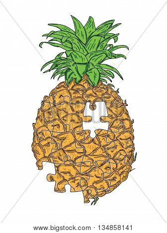 Pineapple Puzzle on white background. vector illustration