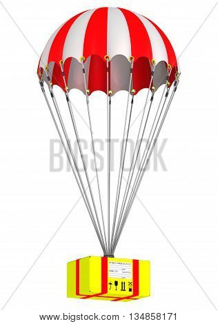 The yellow parcel is flying on a parachute. Isolated. 3D Illustration