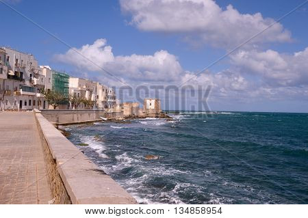 The houses of the seafront in Trapani - Sicily - Italy