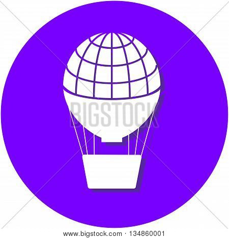 Air balloon flat, papercut style circle vector illustration on blue
