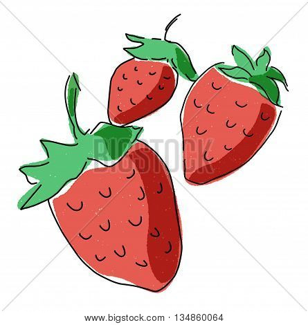 Bunch of Strawberries, Sketch of icon symbols. Colorful berries with leaves for agriculture harvest and farm concept