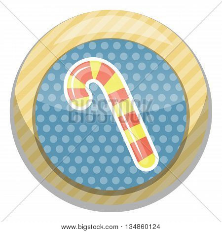 Candy cane icon. Vector illustration in cartoon style