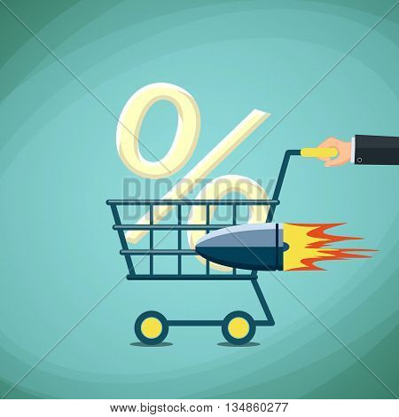 Man carries a shopping cart with percentage sign. Stock Vector cartoon illustration.