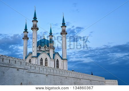Qol Sharif Mosque and walls of Kazan Kremlin