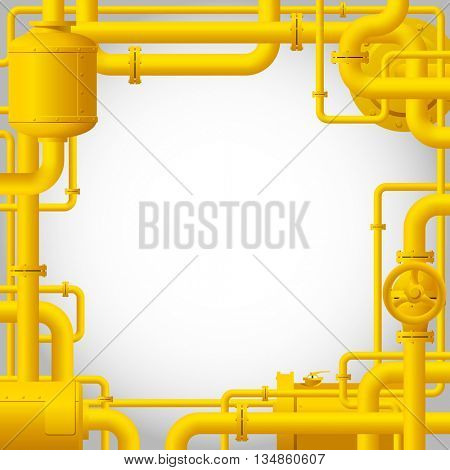 Yellow gas pipes. Industrial frame and background with pipes. 3D Illustration