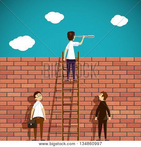 Man standing on a ladder. Brick wall. Stock Vector cartoon illustration.