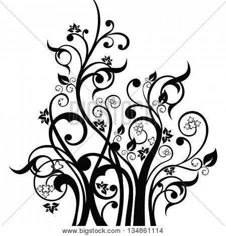 Flowers, leaves and swirls design element silhouette in black. This image is a vector illustration.