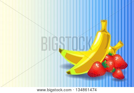 Strawberry banana flat vector background, sweet dessert banner with text place