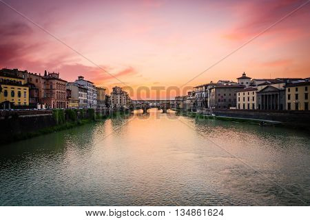 Sunset of Florence on the Arno river
