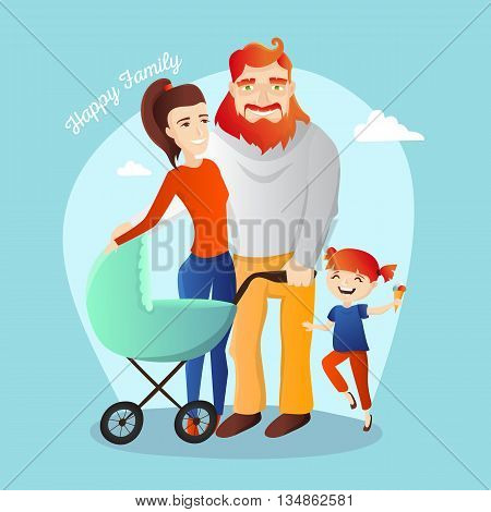 Vector family illustration. Happy parents with daughter and newborn child in the cradle.