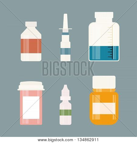 Medicine colorful bottles collection. Bottles for drugs, tablets, capsules and sprays. Hospital equipment. Graphic illustration on gray background