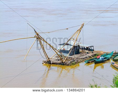 fishing boat at Mekong river seen in Cambodia