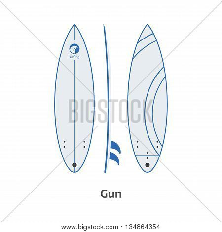 Gun Surfboard Desk Vector Illustration