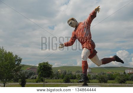 ANKARA/TURKEY-JUNE 5, 2016:  Football player's sculpture at the Saray Sport Complex. June 5, 2016-Ankara/Turkey