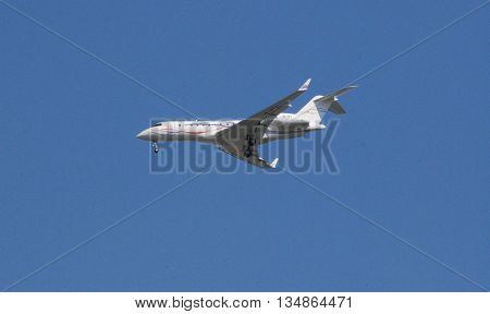 ANKARA/TURKEY-June 5, 2016: Bombardier Global 6000-BD-700-1A10 (M-YFTA) during the approach to Esenboga Airport. June 5, 2016-Ankara/Turkey