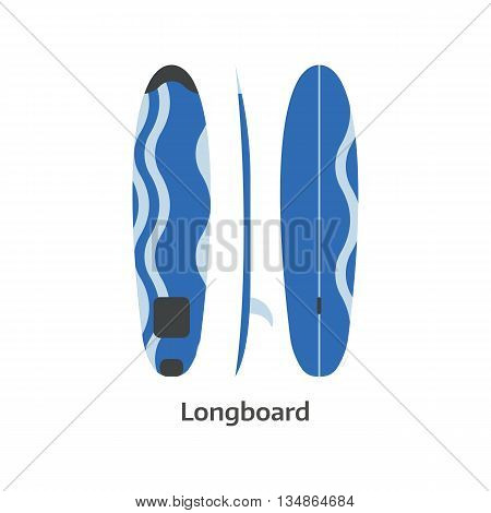 Longboard Surfing Desk Illustration