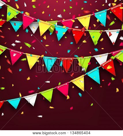 Illustration Holiday Background with Colorful Bunting and Confetti. Bright Banner with Copy Space for Your Text - Vector