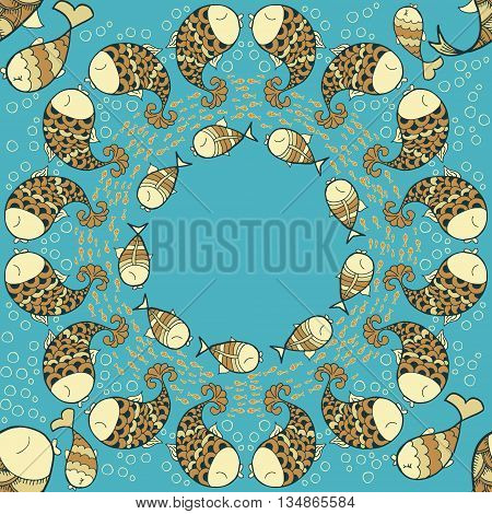 Pattern with sea life objects. Seamless pattern with fishes and bubbles. Maelstrom of fish. Cartoon style. Vector illustration.