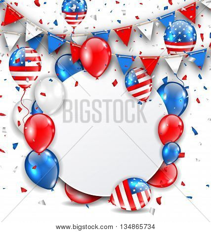 Illustration Celebration Card for American Holidays, Colorful Bunting, Balloons and Confetti. Space for Your Text - Vector