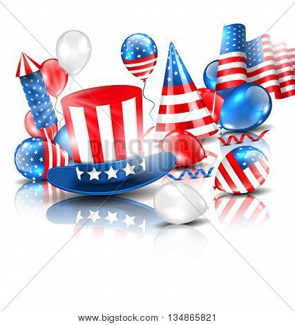 Illustration Colorful Template for American Holidays with Balloons, Party Hat, Fitework Rocket, Flag and Confetti. Objects with Reflection and Shadows. Traditional Colors of USA - Vector