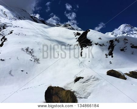 Winter landscape, Himalaya mountains. Way to top mountain