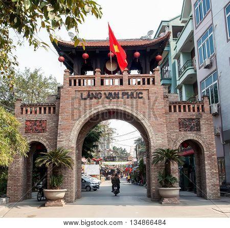 HA NOI, VIET NAM, June 18, 2016 the village gate, Van Phuc, Ha Dong, Ha Noi. Job famous, oldest silk weaving