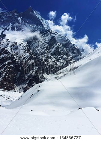Annapurna mountain, snow mountain near Annapurna, winter landscape with mountain