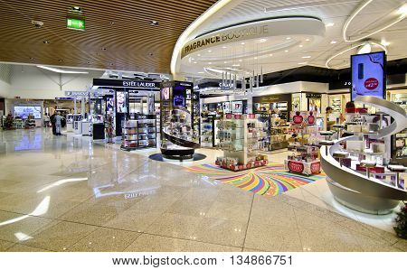 ATHENS GREECE AIRPORT, DECEMBER 13 2015: duty free shops at Eleftherios Venizelos airport in Athens Greece, swarovski, lancome, dior shops, Editorial use.