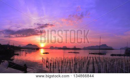 Panorama Morning sunrise in fisherman villagephang nga Thailand.