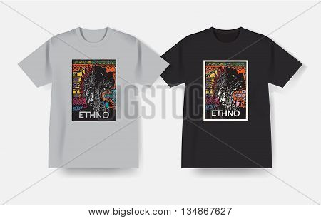 T-shirt with Ethnic music print. Vector design