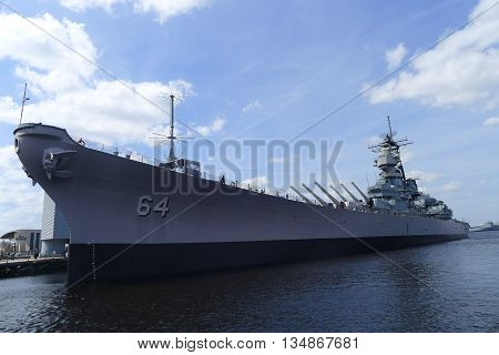 Norfolk, Virginia - March 24: USS Wisconsin (BB-64) at Nauticus March 24, 2016 in Norfolk, Virginia