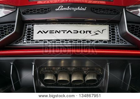 TURIN, ITALY - JUNE 13, 2015: Rear view of a Lamborghini Aventador