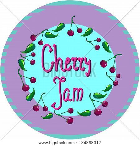 Cherry round logo or tag for jam, or marmalade vector illustration for confiture, can cap design, template for cherry food or drink hand-drawn