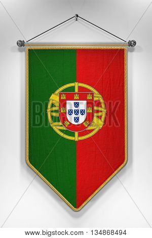 Pennant with Portuguese flag. 3D illustration with highly detailed texture.