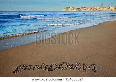 Benidorm written spell word letters in Alicante Mediterranean of Spain