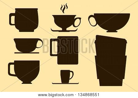 Chocolate brown coffee cup silhouette on yellow background - vector illustration for cafe menu or banner, hot drink chocolate tea or coffee cup silhouette illustration